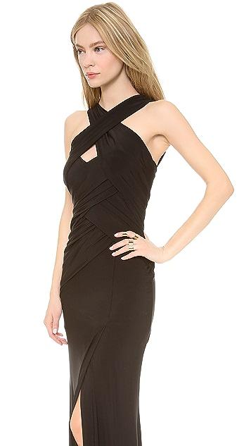 Donna Karan New York Sleeveless Halter Draped Gown