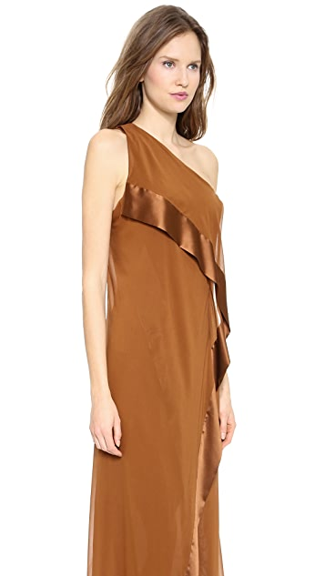 Donna Karan New York One Shoulder Cascade Evening Gown