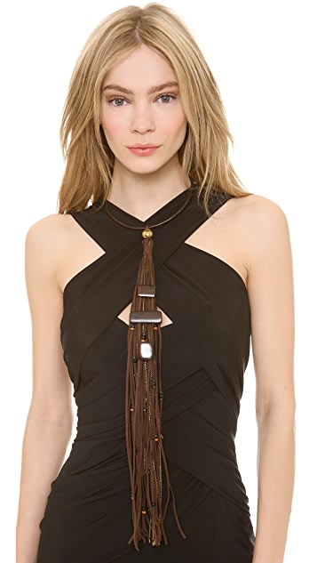 Donna Karan New York Leather Wrapped Wire Choker