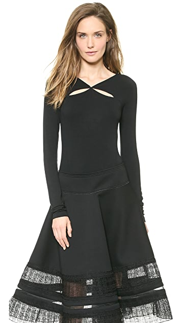 Donna Karan New York Long Sleeve Double Slash Top