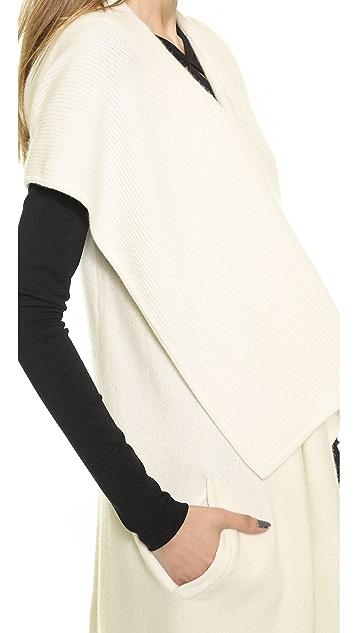 Donna Karan New York Sleeveless Hooded Cozy Sweater