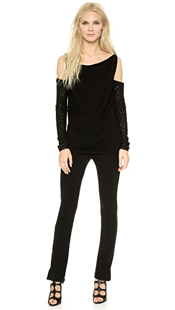 Donna Karan New York Cashmere Slash Shoulder Top
