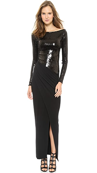 Donna Karan New York Long Sleeve Bateau Gown