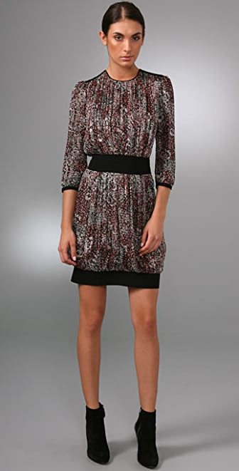 Derek Lam 3/4 Sleeve Dress with Gathered Waist
