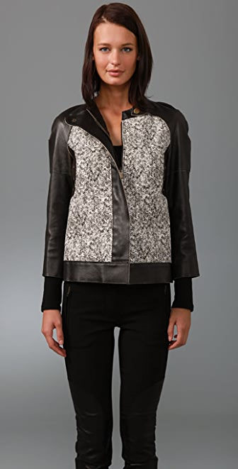 Derek Lam Haircalf Jacket with Vintage Leather Sleeves