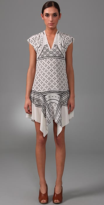 Derek Lam Handkerchief Cap Sleeve Dress