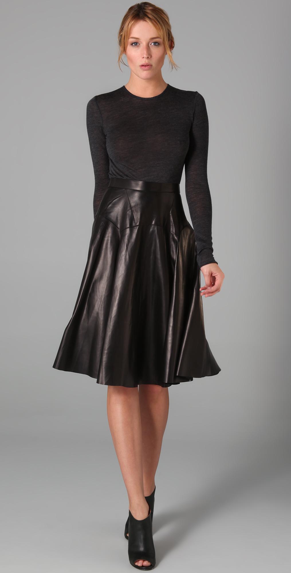 Derek Lam Long Sleeve Leather Dress with Jersey Bodice - SHOPBOP