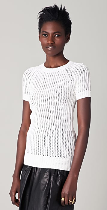 Derek Lam Short Sleeve Crew Neck Sweater