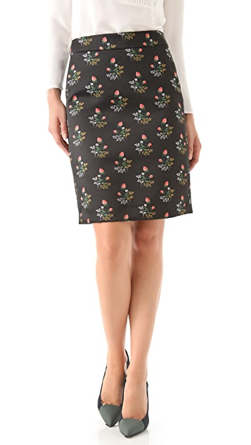 Derek Lam Floral Satin Pencil Skirt