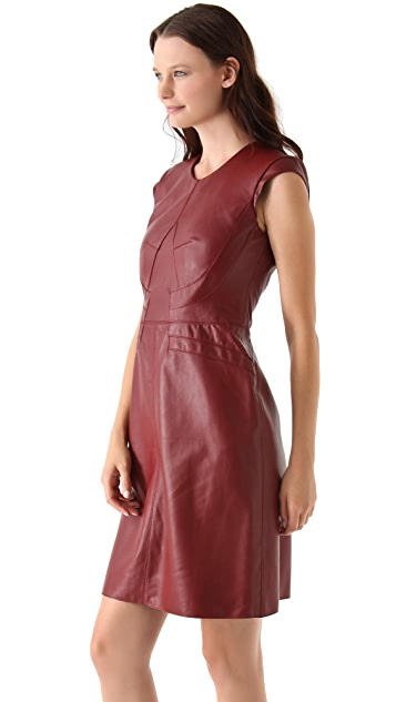 Derek Lam Leather Cap Sleeve Dress