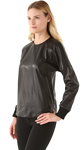 Derek Lam Leather Pullover with Merino Trim