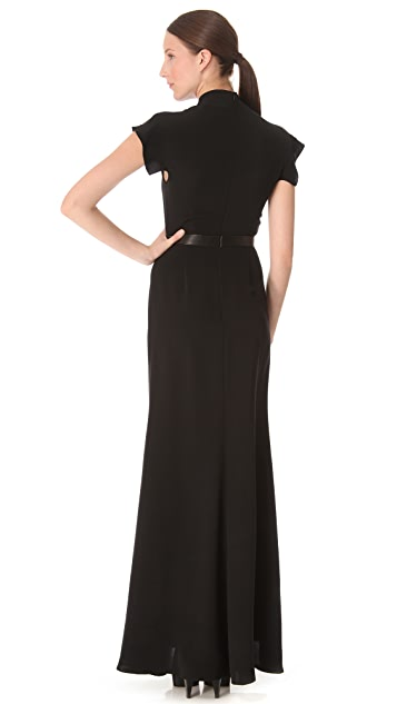 Derek Lam Leather Band Silk Gown