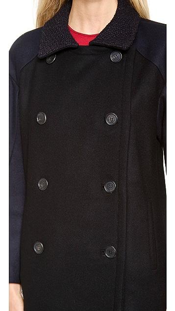 Derek Lam Wool Pea Coat with Navy Front Panel