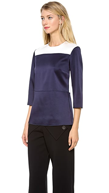 Derek Lam Satin Colorblock Blouse
