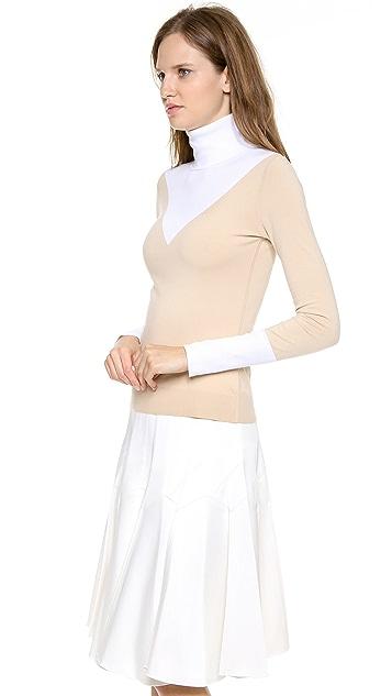 Derek Lam Jersey Bicolor Turtleneck Sweater