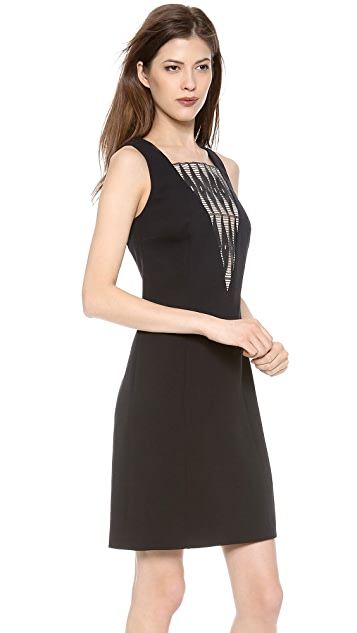 Derek Lam Sleeveless Cocktail Dress with Lace Inset