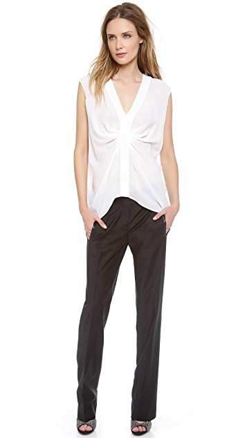 Derek Lam Straight Leg Trousers with Faux Trim