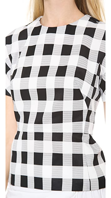 Derek Lam Plaid Faille Short Sleeve T-Shirt