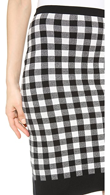 Derek Lam Plaid Double Knit Skirt