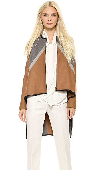 Derek Lam Zip Cape Jacket with Leather Trim