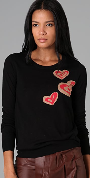 DKNY Crew Neck Pullover Sweater with Hearts