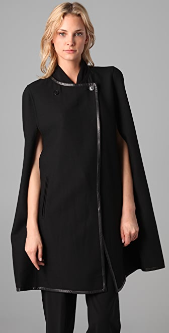 DKNY Twill Cape with Leather Trim
