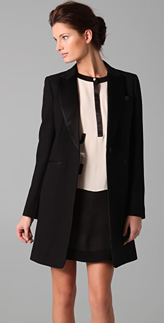 DKNY Satin Lapel & Pocket Blazer