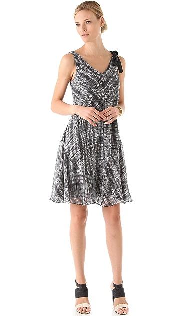 DKNY pure DKNY V-Neck Flutter Hem Dress