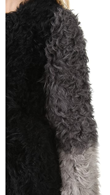 DKNY Colorblock Stretch Shearling Coat