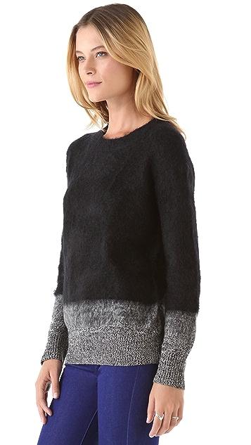 DKNY Tweeded Trim Crew Neck Sweater