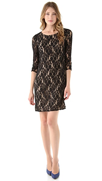 DKNY 3/4 Sleeve Lace Dress