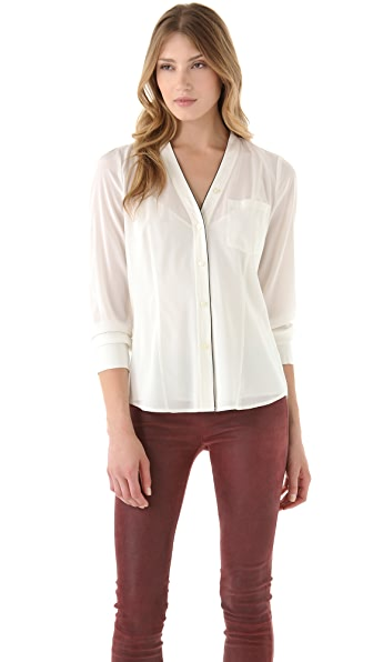 DKNY V Neck Blouse with Contrast Piping