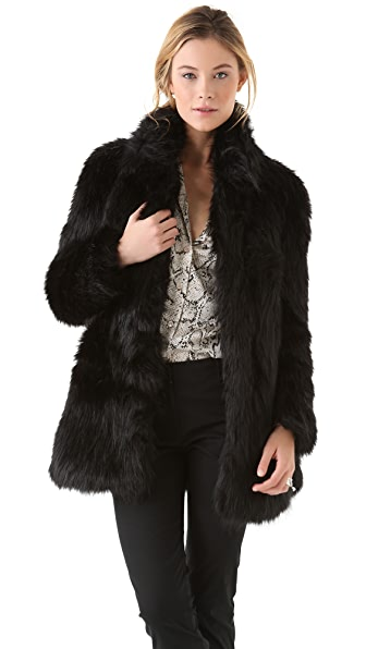 DKNY Faux Fur Coat with Ponte Insets