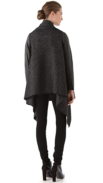 DKNY Pure DKNY Marled Coat with Leather Sleeves