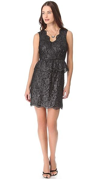 DKNY V Neck Dress with Peplum