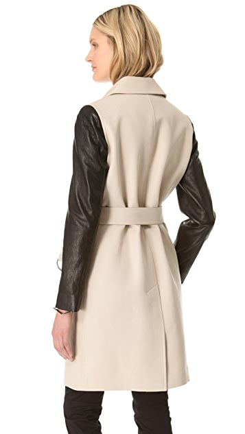 DKNY Leather Sleeve Trench Coat
