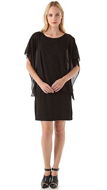 DKNY Sleeveless Dress with Overlay