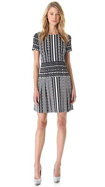 DKNY Pleated Crew Neck Dress