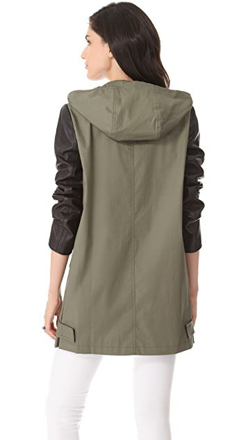 DKNY Leather Sleeve Utility Parka