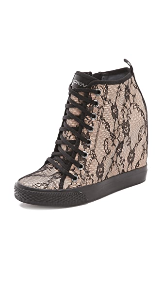 DKNY Lace Wedge Sneakers