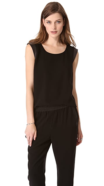 DKNY Sleeveless Top with Leather Trim