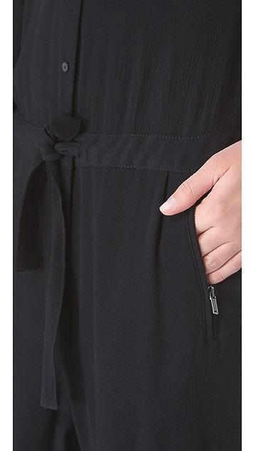 DKNY Pure DKNY Leather Yoke Jumpsuit