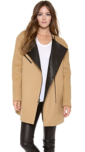 DKNY Asymmetrical Zip Front Coat