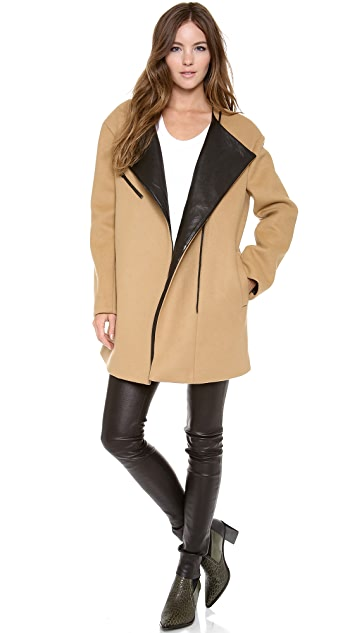 DKNY Asymmetrical Zip Front Coat