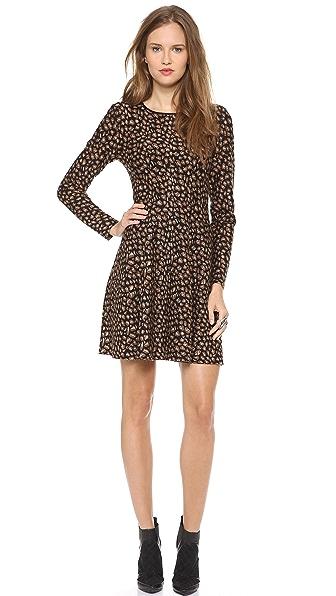 DKNY Leopard Knit Flare Dress
