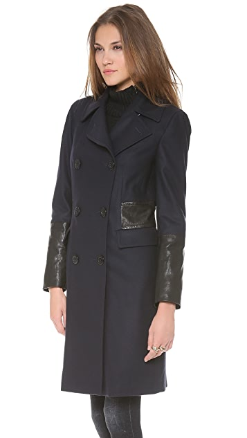DKNY Double Breasted Coat with Leather