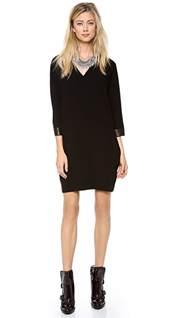 DKNY V Neck Dress with Leather Cuffs