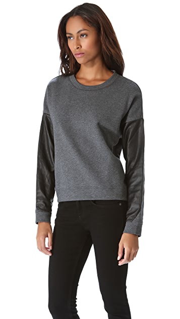 DKNY Leather Sleeve Pullover
