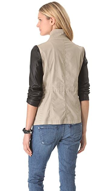 DKNY Pure DKNY Cargo Jacket with Leather Sleeves