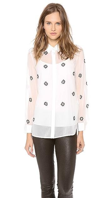 DKNY Embellished Long Sleeve Blouse